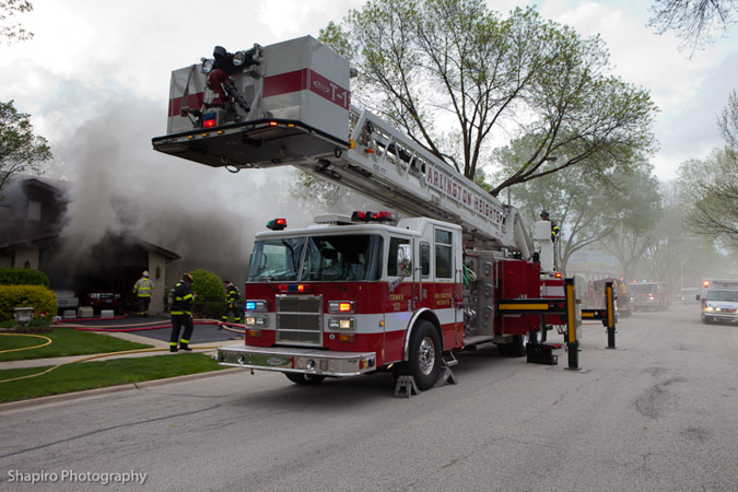 Arlington Heights IL fire department house fire basement fire 1142 Fernandez 4-18-12