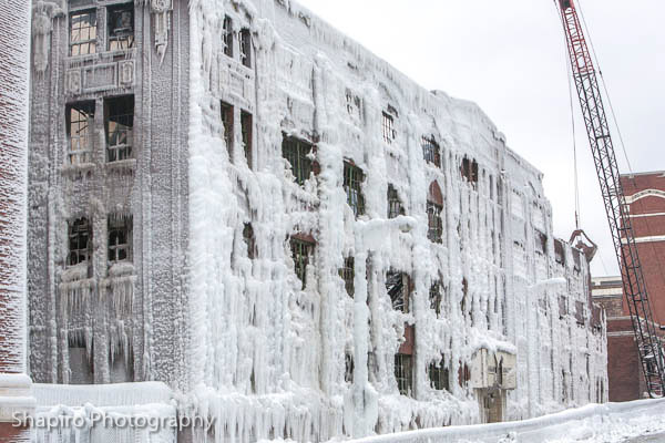 ice covered ruins of the building destroyed by a massive warehouse fire in Chicago 1-22-13
