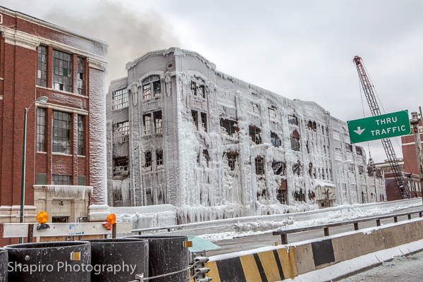 ice covered ruins of a building destroyed in Chicago at 3757 S. Ashland Avenue