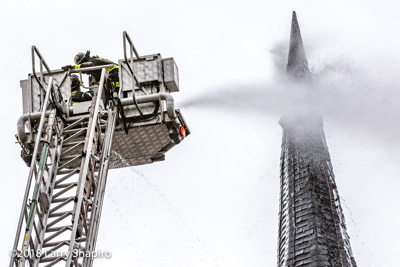 Chicago Fire Department 2-11 Alarm fire at 1540 N Spaulding 2-20-18 fire in a chuch steeple shapirophotography.net Larry Shapiro photographer #larryshapiro #chicagofd #E-ONE #EONE