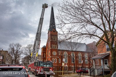 Chicago Fire Department #cfd #chicagofd #larryshapiro shapirophotography.net 2-11 Alarm fire in a church steeple at 1540 N Spaulding 2-20-18 Larry Shapiro photographer E-ONE tower ladder #EONE #E-ONE