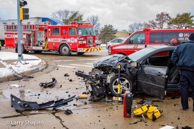 Wheeling FD car crash with injuries 3-13-17 Hintz Road and Wolf Road Larry Shapiro photographer Shapirophotography.net