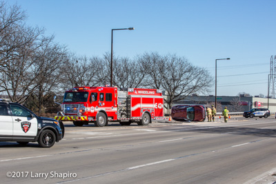 Wheeling Fire Department MVA with injuries Lake Cook Road and Hastings Drive 2-2-18 shapirophotography.net Larry Shapiro photographer #larryshapiro Rosenbauer America Commander fire engine
