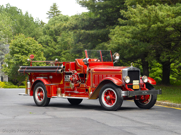 Basking Ridge Fire Co 1 antique American LaFrance engine