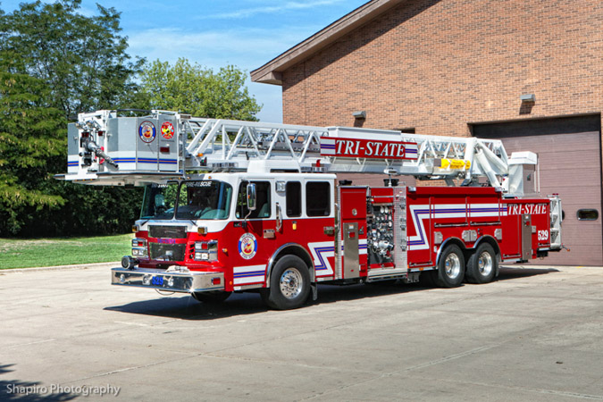 Tri-State Fire protection District fire trucks apparatus Smeal tower ladder