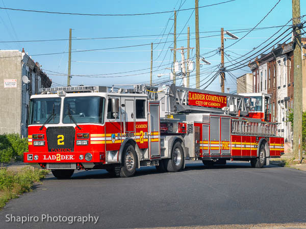 Camden NJ Fire Department Ladder 2 KME TDA tractor-drawn aerial Larry SHapiro photography