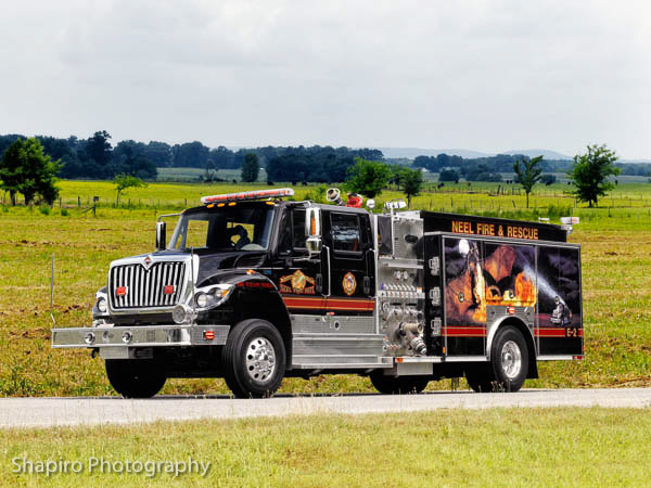 Neel Fire Department, Danville, AL fire trucks fire apparatus fleet black fire engines Larry SHapiro photography