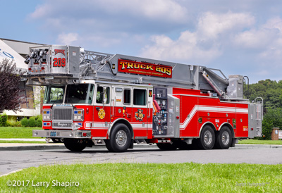North Brunswick Fire Department NJ Maple Mead fire trucks Seagrave Marauder II Apollo tower ladder fire engine #larryshapiro shapirophotography.net Larry Shapiro photographer