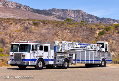 Santa Barbara County Fire Department CA KME Severe Service pumper TDA tractor-Drawn AerialCat aerial ladder Engine 11 Ladder 11 fire trucks apparatus Larry Shapiro photographer shapirophotography.net #larryshapiro