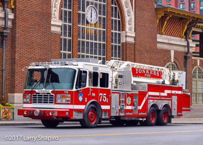 Yonkers Fire Department NY fire trucks apparatus Ferrara Inferno HD mid-mount aerial platform fire engine mobile command post American LaFrance Eagle LTI Smeal fire engine Larry Shapiro photographer shapirophotography.net #larryshapiro